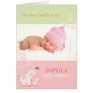 Pink Elephants Baby Girl Photo Birth Announcement