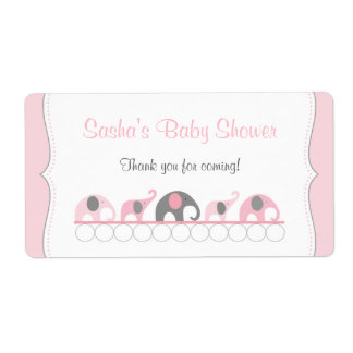 Pink Elephants Baby Shower Water Bottle or Favor