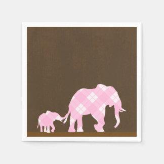 Pink Elephants Brown Trendy Modern Baby Shower Disposable Serviettes