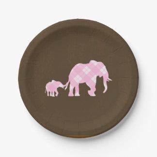 Pink Elephants Brown Trendy Modern Baby Shower Paper Plate