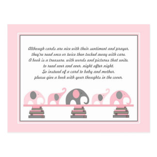 Pink Elephants Insert for Book Baby Shower Postcard