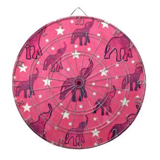 Pink Elephants Stars Pattern Dartboard