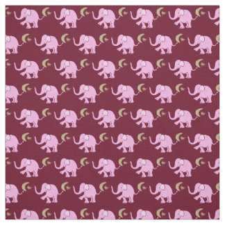 Pink Elephants with Moon and Star on Burgundy Fabric