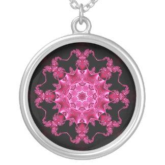 Pink enamel fibula silver plated necklace