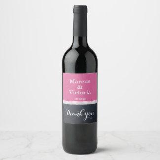 Pink Enamel Paint Modern Wedding Thank you Wine Label