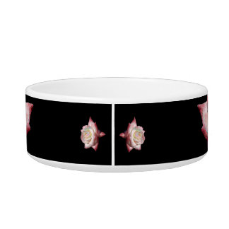 Pink Enameled Roses on Black Bowl