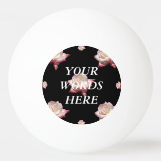 Pink Enameled Roses on Black Ping Pong Ball