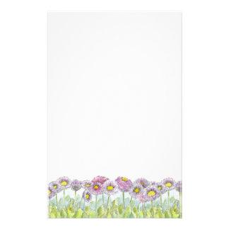 Pink English Daisy Flowers Letter Writing Customized Stationery