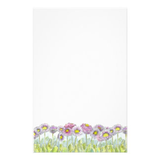 Pink English Daisy Flowers Letter Writing Stationery