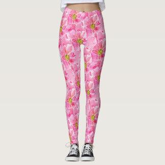 Pink English Roses Leggings