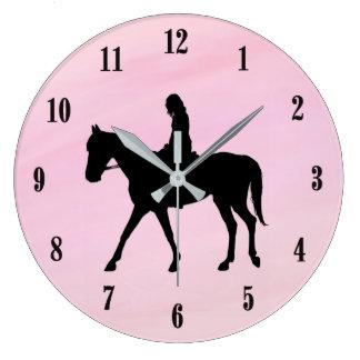 Pink Equestrian Wall Clock