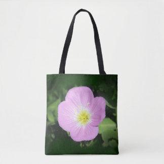 Pink evening primrose flower tote bag