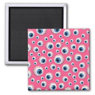 Pink eyeball pattern refrigerator magnets