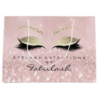 Pink Eyes Lashes Blush Makeup Glitter Branding Large Gift Bag