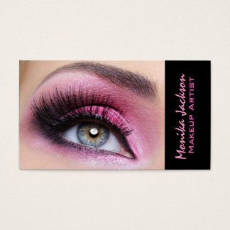 Pink eyeshadow long lashes eyemakeup artist business card