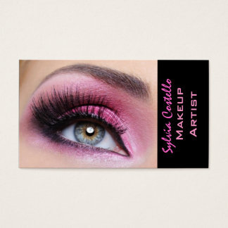 Pink eyeshadow long lashes eyemakeup artist card