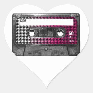 Pink Fade Houndstooth Label Cassette Heart Sticker
