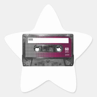 Pink Fade Houndstooth Label Cassette Star Sticker