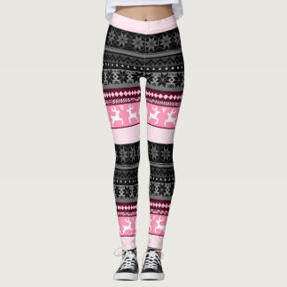 Pink Fair Isle Pattern Leggings