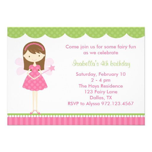 Pink Fairy Birthday Party Invitations Personalized Announcements