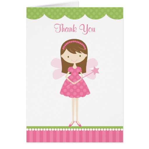 Pink Fairy Thank You Note Card Greeting Card