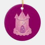 Pink Fairytale Castle Christmas Ornament
