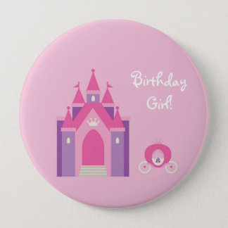 Pink Fairytale Castle Personalized Birthday Button