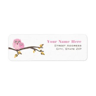 Pink Fall Baby Shower Label Mom & Baby Owl Return Address Label