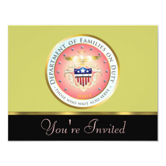 Pink Families on Duty Seal Invitation Customize