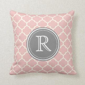 Pink Fancy Monogram Custom Pillow