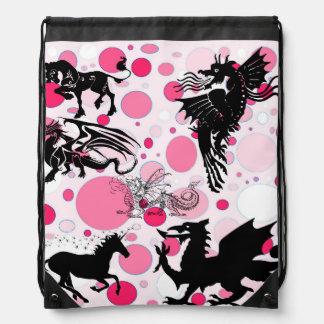 Pink Fantasy Drawstring Bag