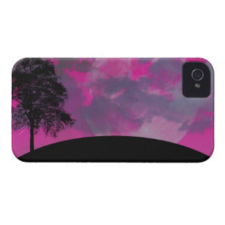 Pink fantasy moon, clouds & black tree silhouette iPhone 4 cases