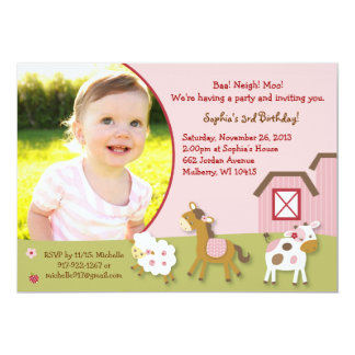 Pink Farm Animal Girl Photo Birthday Invitation