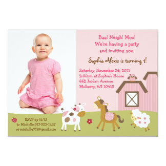 Pink Farm Animal Girls Birthday Invitation