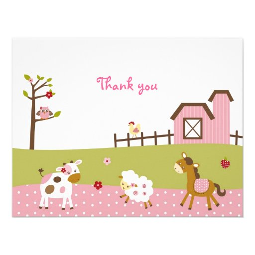 Pink Farm Animal Girls Thank You Note Cards Invitations