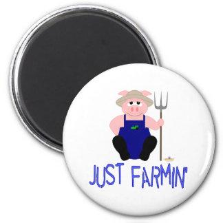 Pink Farmer Pig Blue Just Farmin' Magnets