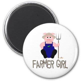 Pink Farmer Pig Brown Farmer Girl Fridge Magnet