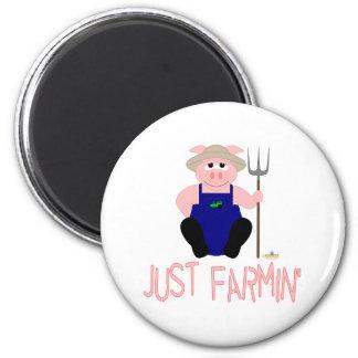 Pink Farmer Pig Pink Just Farmin' Refrigerator Magnet