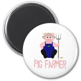 Pink Farmer Pig Pink Pig Farmer Magnet