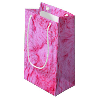 Pink Faux Fur Small Gift Bag