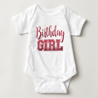 Pink Faux Glitter Birthday Girl Text Baby Bodysuit