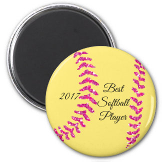 Pink Faux Glitter Softball Stitches Magnet