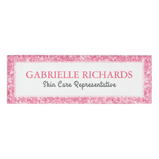 Pink Faux Glitter Text Template Name Tag