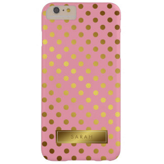 Pink Faux Gold Foil Polka Dots Pattern Barely There iPhone 6 Plus Case