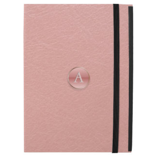 Pink Faux Leather 3D Effect Glass Button Monogram
