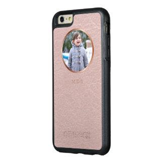 Pink Faux Leather Photo Upload Monogram OtterBox iPhone 6/6s Plus Case