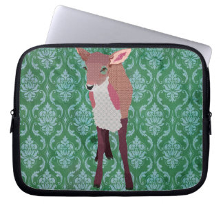 Pink Fawn Green Computer Sleeve