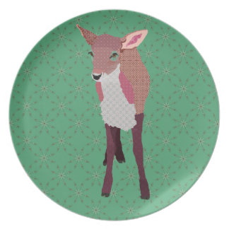 Pink Fawn Green Snowflake Plate
