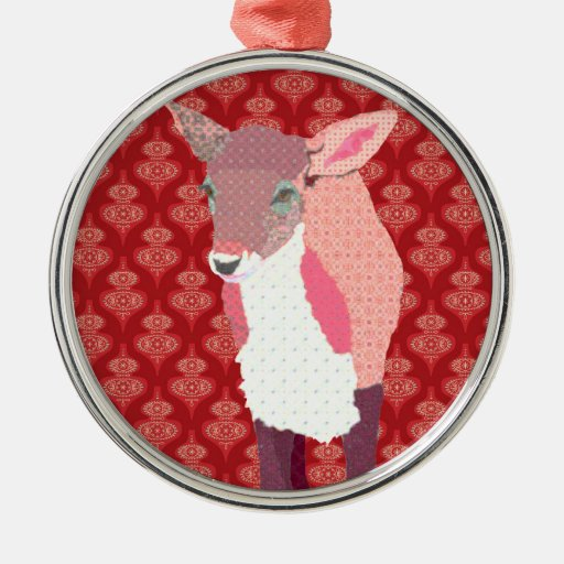 Pink Fawn Red Ornament