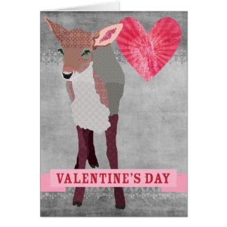 Pink Fawn Retro Grey  Valentine Card